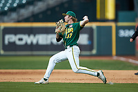 Baylor Bears first baseman Evan Godwin (27) makes a throw to second base against the LSU Tigers in game five of the 2020 Shriners Hospitals for Children College Classic at Minute Maid Park on February 28, 2020 in Houston, Texas. The Bears defeated the Tigers 6-4. (Brian Westerholt/Four Seam Images)