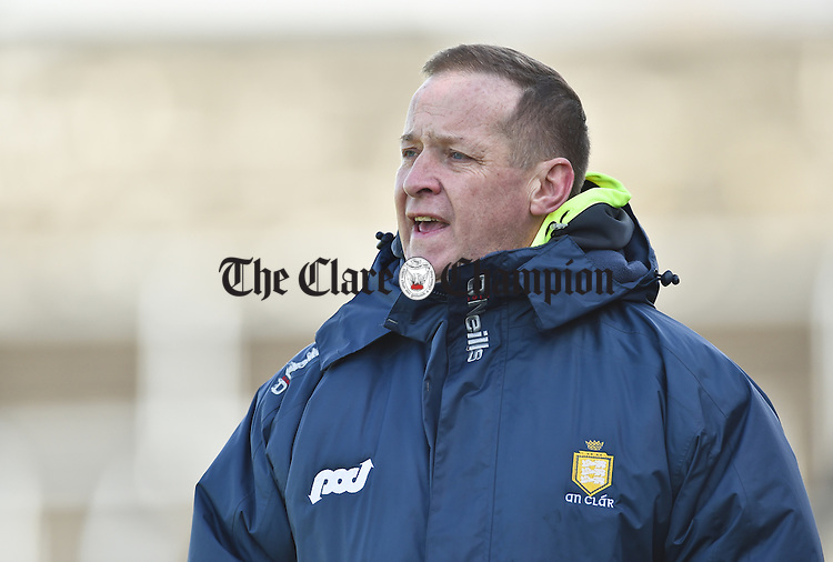 Clare  manager Colm Collins on the sideline during their National League Division 3 Round 6 game against Longford in Cusack park. Photograph by John Kelly.
