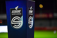 illustration picture showing the Scooore Super League Logo during a female soccer game between  AA Gent Ladies and Sporting Charleroi Feminin on the fifth matchday of the 2020 - 2021 season of Belgian Scooore Womens Super League , friday 16 th of October 2020  in Oostakker , Belgium . PHOTO SPORTPIX.BE | SPP | DAVID CATRY