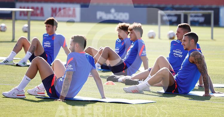 Atletico de Madrid's Saul Niguez (l) and Mario Hermoso during training session. July 9,2021.(ALTERPHOTOS/Atletico de Madrid/Pool)
