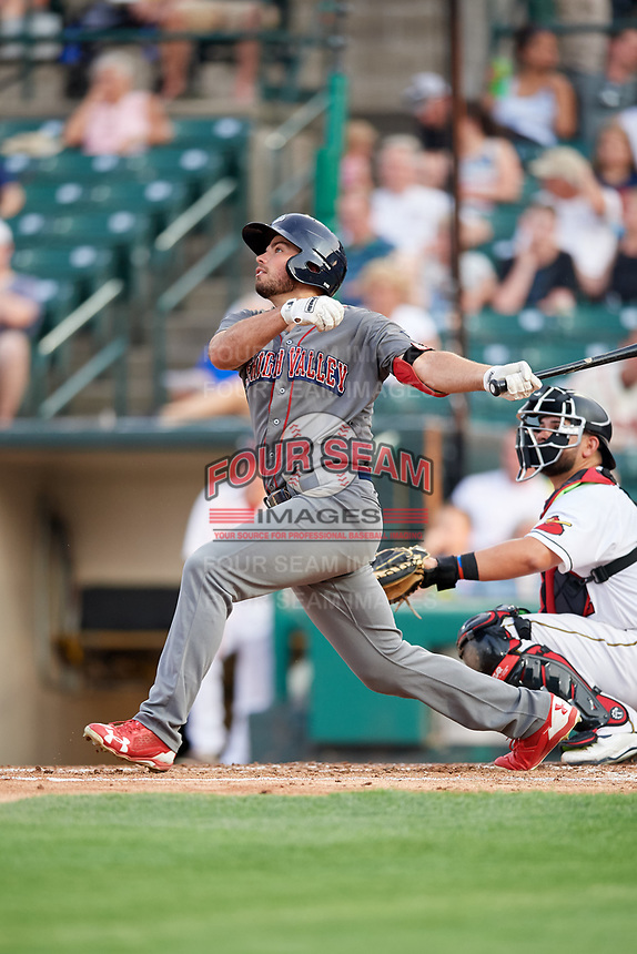 Lehigh Valley IronPigs third baseman Damek Tomscha (47) follows through on a swing in front of catcher Juan Graterol (52) during a game against the Rochester Red Wings on June 30, 2018 at Frontier Field in Rochester, New York.  Lehigh Valley defeated Rochester 6-2.  (Mike Janes/Four Seam Images)