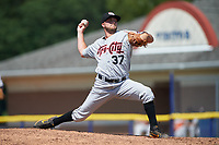 Tri-City ValleyCats relief pitcher Hunter Martin (37) delivers a pitch during a game against the Batavia Muckdogs on July 16, 2017 at Dwyer Stadium in Batavia, New York.  Tri-City defeated Batavia 13-8.  (Mike Janes/Four Seam Images)