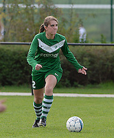 20151024 - ZWEVEZELE , BELGIUM :  Britt Berghmans pictured during a soccer match between the women teams of SKV Zwevezele Ladies and KSOC Maria Ter Heide  , during the eight matchday in the Third League - Derde Nationale season, Saturday 24 October 2015 . PHOTO DAVID CATRY
