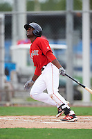 GCL Red Sox left fielder Juan Carlos Abreu (44) at bat during the second game of a doubleheader against the GCL Rays on August 9, 2016 at JetBlue Park in Fort Myers, Florida.  GCL Rays defeated GCL Red Sox 9-1.  (Mike Janes/Four Seam Images)