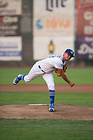 Ogden Raptors starting pitcher Orlandy Navarro (23) follows through on his delivery during a Pioneer League game against the Great Falls Voyagers at Lindquist Field on August 23, 2018 in Ogden, Utah. The Ogden Raptors defeated the Great Falls Voyagers by a score of 8-7. (Zachary Lucy/Four Seam Images)