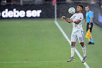 WASHINGTON, DC - AUGUST 25: Brandon Bye #15 of New England Revolution controls the ball during a game between New England Revolution and D.C. United at Audi Field on August 25, 2020 in Washington, DC.