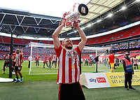29th May 2021; Wembley Stadium, London, England; English Football League Championship Football, Playoff Final, Brentford FC versus Swansea City; Henrik Dalsgaard of Brentford celebrates with the Sky Bet EFL Championship Plays-off Trophy and their 2-0 win and promotion to the Premier League