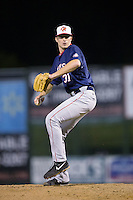 Hagerstown Suns relief pitcher Trey Lambert (31) in action against the Kannapolis Intimidators at Kannapolis Intimidators Stadium on May 4, 2016 in Kannapolis, North Carolina.  The Intimidators defeated the Suns 7-4.  (Brian Westerholt/Four Seam Images)