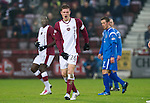 Hearts v St Johnstone...29.01.11  .Marius Zaliukas reacts to a sore one in his groin.Picture by Graeme Hart..Copyright Perthshire Picture Agency.Tel: 01738 623350  Mobile: 07990 594431