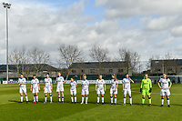 line-up Club Brugge YLA ( Nicky Van Den Abbeele (28) , Isabelle Iliano (18) , Frieke Temmerman (17) , Marie Minnaert (13) , Angel Kerkhove (11) , Celien Guns (10) , Elle Decorte (7) , Raquel Viaene (5) , Febe Vanhaecke (3) , goalkeeper Elke Geeraert (25) , Ellen Martens (2) ) pictured before a female soccer game between  AA Gent Ladies and Club Brugge YLA on the 16th matchday of the 2020 - 2021 season of Belgian Scooore Womens Super League , saturday 13 th of March 2020  in Oostakker , Belgium . PHOTO SPORTPIX.BE | SPP | STIJN AUDOOREN