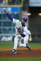 LSU Tigers relief pitcher Jaden Hill (44) delivers a pitch to the plate against the Texas Longhorns in game three of the 2020 Shriners Hospitals for Children College Classic at Minute Maid Park on February 28, 2020 in Houston, Texas. The Tigers defeated the Longhorns 4-3. (Brian Westerholt/Four Seam Images)