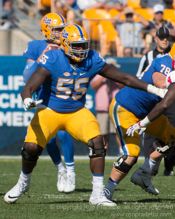 Pitt offensive lineman Jaryd Jones-Smith. The North Carolina Wolfpack defeated the Pitt Panthers 35-17 at Heinz Field, Pittsburgh, PA on October 14, 2017.
