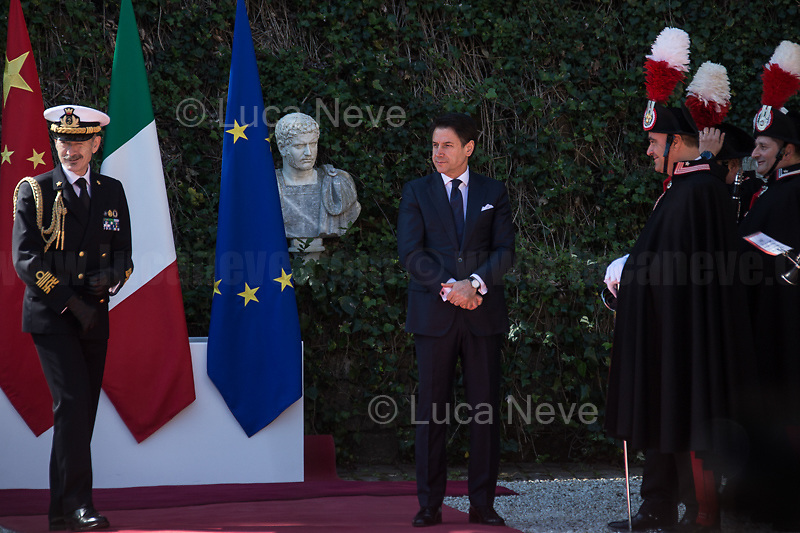 """Giuseppe Conte (Italian Prime Minister).<br /> <br /> Rome, 23/03/2019. The President of the People's Republic of China (General Secretary of the Communist Party of China, and Chairman of the Central Military Commission), Xi Jinping, meets the Italian Prime Minister Giuseppe Conte at Villa Madama during the second day of a three-day State visit to Italy. After the arrival of Xi Jinping greeted with the full honors at the splendid Renaissance Villa designed by Raffaello Sanzio, the Chinese delegation and the Italian delegation led by the Luigi Di Maio (Deputy Prime Minister, Minister of Economic development, Labour and Social Policies, and leader of the Five Star Movement) signed a memorandum of understanding - 29 separate protocols - supporting the """"Belt and Road"""" initiative (part of the """"New Silk Road Project"""") as the first of the Seven major economies in the world. Luigi Di Maio stated that """"the value of individual deals signed amounts to about 2,5 billion euros, with the potential to grow to about 20 billion euros""""."""