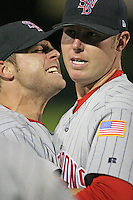 Scranton Wilkes-Barre Red Barons Jeremy Cummings celebrates after an International League game at Frontier Field on September 3, 2006 in Rochester, New York.  Cummings pitched a no-hitter defeating the Red Wings 5-0.  (Mike Janes/Four Seam Images)