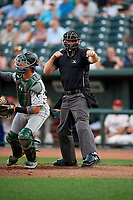 Umpire Pete Talkington strike three call during a Midwest League game between the Clinton LumberKings and Great Lakes Loons on July 19, 2019 at Dow Diamond in Midland, Michigan.  Clinton defeated Great Lakes 3-2.  (Mike Janes/Four Seam Images)
