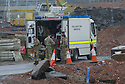 Army bomb disposal experts at the scene near the A90 where a controlled explosion of old explosives is due to take place.