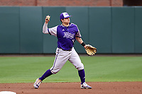 CHAPEL HILL, NC - FEBRUARY 19: Justin Ebert #19 of High Point University throws to first base during a game between High Point and North Carolina at Boshamer Stadium on February 19, 2020 in Chapel Hill, North Carolina.