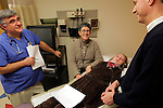 Nurse practicioner Gilbert Ciocci, left, Dr. Joanne Kurtzberg, center, and William Massart, right, delight in the news that Massart's daughter Sandra Massart, 10, on bed, has accepted her father's stem cells at Duke University Hospital in Durham, NC, USA, on Tuesday, Feb. 14, 2012.  Sandra Massart is being treated for MLD, a degenerative condition.  Photo by Ted Richardson