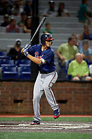 Danville Braves first baseman Griffin Benson (16) at bat during a game against the Johnson City Cardinals on July 28, 2018 at TVA Credit Union Ballpark in Johnson City, Tennessee.  Danville defeated Johnson City 7-4.  (Mike Janes/Four Seam Images)