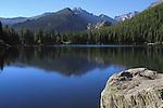 Bear Lake and Longs Peak (14259 feet) in Rocky Mountain National Park, west of Estes Park, Colorado, USA .  John leads private photo tours throughout Colorado. Year-round Colorado photo tours.