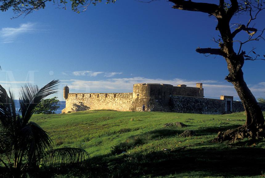 AJ2299, Dominican Republic, fort, Puerto Plata, Caribbean, Scenic view of Fort of San Felipe in the Dominican Republic.