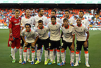Valencia, Spain. Thursday 19 September 2013<br /> Pictured: Valencia players before kick off.<br /> Re: UEFA Europa League game against Valencia C.F v Swansea City FC, at the Estadio Mestalla, Spain,