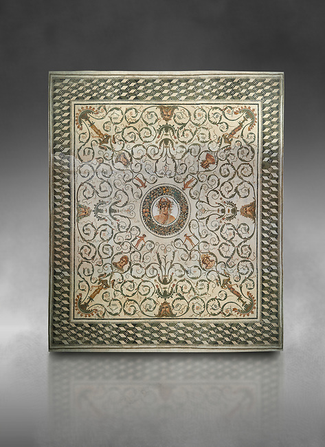 Pictures of a Roman mosaics design depicting the Four Seasons, from the Maison de la Procession Dionysiaque, ancient Roman city of Thysdrus. 2nd century AD. El Djem Archaeological Museum, El Djem, Tunisia.