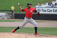 Cedar Rapids Kernels relief pitcher Melvi Acosta (22) throws a pitch during a game against the Wisconsin Timber Rattlers on September 8, 2021 at Neuroscience Group Field at Fox Cities Stadium in Grand Chute, Wisconsin.  (Brad Krause/Four Seam Images)