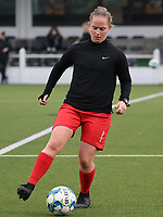 Stefanie Deville of Woluwe pictured during the warm up before a female soccer game between Oud Heverlee Leuven and Femina White Star Woluwe  on the 5 th matchday of the 2020 - 2021 season of Belgian Womens Super League , Sunday 18 th of October 2020  in Heverlee , Belgium . PHOTO SPORTPIX.BE   SPP   SEVIL OKTEM