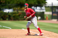 Philadelphia Phillies first baseman Arturo De Freitas (3) waits for a throw during an Extended Spring Training game against the Toronto Blue Jays on June 12, 2021 at the Carpenter Complex in Clearwater, Florida. (Mike Janes/Four Seam Images)