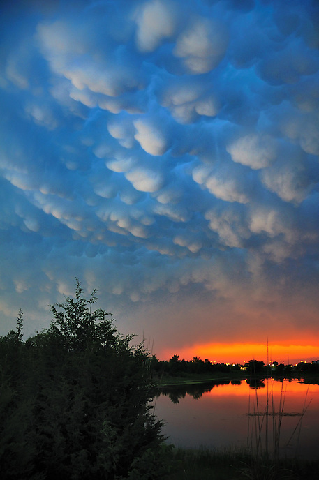 Mammatus clouds protrude from the anvil of a severe thunderstorm complex near Norman Oklahoma at dusk.