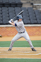Eric Webber (21) of the Georgetown Hoyas at bat against the Bucknell Bison at Wake Forest Baseball Park on February 14, 2015 in Winston-Salem, North Carolina.  The Hoyas defeated the Bison 8-5.  (Brian Westerholt/Four Seam Images)