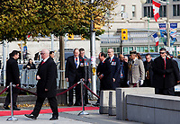 Ottawa- Canada - Nov 3rd - French President Francois Hollande stop by the War Memorial Monument where a soldier was shot and killed last week and deposit flowers, November 3rd, 2014.<br /> <br /> Hollande is on a 3 day tour of Canada<br /> <br /> Photo : Agence Quebec Presse  - Nicolas Lafontaine