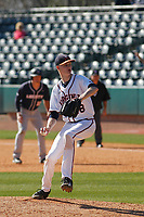 University of Virginia Cavaliers pitcher Noah Murdock (28) on the mound during a game against the Liberty University Flames at Joseph P. Riley Ballpark on February 17, 2017 in Charleston, South Carolina. Virginia defeated Liberty 10-2. (Robert Gurganus/Four Seam Images)
