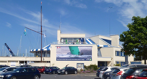 Let the sunshine in – the serious new poster is centre stage at Howth. Photo: W M Nixon