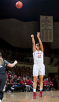 Stanford's Kailee Johnson, attempts making a basket during Stanford women's basketball  vs Washington State at Maples Pavilion, Stanford, California on March 1, 2014.