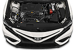 Car Stock 2021 Toyota Camry SE 4 Door Sedan Engine  high angle detail view