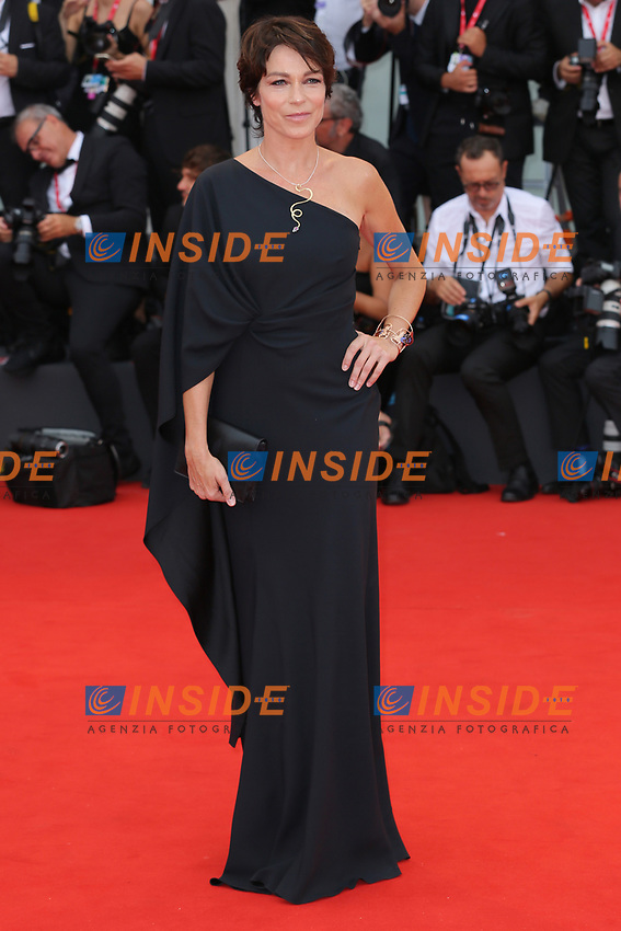 "VENICE, ITALY - AUGUST 28: Stefania Rocca walks the red carpet ahead of the Opening Ceremony and the ""La Verite"" (The Truth) screening during the 76th Venice Film Festival at Sala Grande on August 28, 2019 in Venice, Italy., 2019 in Venice, Italy. (Photo by Marck Cape/Inside Foto)<br /> Venezia 28/08/2019"