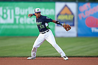 Vermont Lake Monsters shortstop Richie Martin (12) throws to first during a game against the Hudson Valley Renegades on September 3, 2015 at Centennial Field in Burlington, Vermont.  Vermont defeated Hudson Valley 4-1.  (Mike Janes/Four Seam Images)