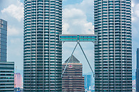 Petronas Towers from Traders Hotel, Kuala Lumpur, Malaysia.