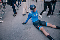 Edoardo Affini (ITA/SEG Racing Academy) downed by fatigue after finishing<br /> <br /> MEN UNDER 23 INDIVIDUAL TIME TRIAL<br /> Hall-Wattens to Innsbruck: 27.8 km<br /> <br /> UCI 2018 Road World Championships<br /> Innsbruck - Tirol / Austria