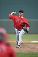 Salem Red Sox relief pitcher Hunter Smith (37) in action against the Winston-Salem Dash at BB&T Ballpark on April 22, 2018 in Winston-Salem, North Carolina.  The Red Sox defeated the Dash 6-4 in 10 innings.  (Brian Westerholt/Four Seam Images)