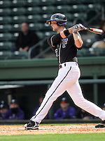 Catcher Andrew MacLatchie (19) of the Furman University Paladins hits in a game against the Northwestern Wildcats on Saturday, February 16, 2013, at Fluor Field in Greenville, South Carolina. The game was cancelled in the fifth inning due to snow. (Tom Priddy/Four Seam Images)