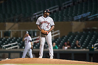 Scottsdale Scorpions relief pitcher Erasmo Pinales (47), of the Houston Astros organization, gets ready to deliver a pitch during an Arizona Fall League game against the Salt River Rafters at Salt River Fields at Talking Stick on October 11, 2018 in Scottsdale, Arizona. Salt River defeated Scottsdale 7-6. (Zachary Lucy/Four Seam Images)