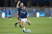 SAN JOSE, CA - OCTOBER 03: Javier Hernandez #14 of the LA Galaxy warming up during a game between Los Angeles Galaxy and San Jose Earthquakes at Earthquakes Stadium on October 03, 2020 in San Jose, California.