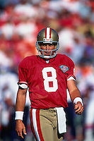 SAN FRANCISCO, CA - Quarterback Steve Young of the San Francisco 49ers in action during a game at Candlestick Park in San Francisco, California on August 12, 1994. Photo by Brad Mangin.