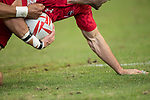 Dan Norton of England tries to stop Justin Douglas of Canada, who runs with the ball during the match Canada vs England, Day 2 of the HSBC Singapore Rugby Sevens as part of the World Rugby HSBC World Rugby Sevens Series 2016-17 at the National Stadium on 16 April 2017 in Singapore. Photo by Victor Fraile / Power Sport Images