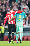 Aritz Aduriz Zubeldia of Athletic Club and Luis Suarez (r) of FC Barcelona walk off the pitch during their Copa del Rey Round of 16 first leg match between Athletic Club and FC Barcelona at San Mames Stadium on 05 January 2017 in Bilbao, Spain. Photo by Victor Fraile / Power Sport Images