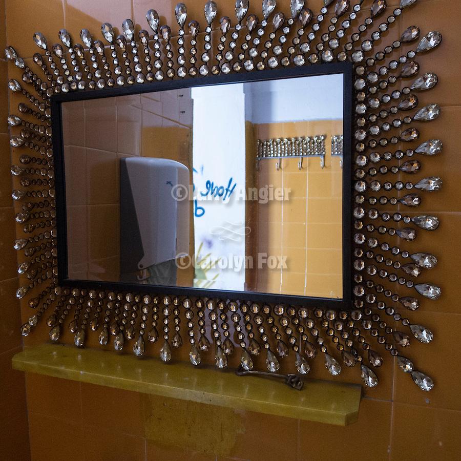 Bathroom mirror, Mare 66 beach resort, Litochoro, Greece
