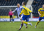 Kilmarnock v St Johnstone....03.03.12   SPL.James Fowler chops down Marcus Haber with ball nowhere near.Picture by Graeme Hart..Copyright Perthshire Picture Agency.Tel: 01738 623350  Mobile: 07990 594431